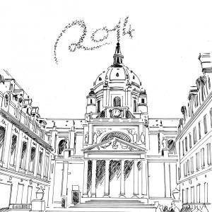 Essais de carte de vœux pour l'université Paris1 Panthéon-Sorbonne dans illustration sorbone2-300x300